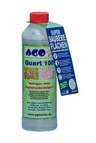 AGO® Quart 100 Grünbelag Entferner Chlorfrei & Säurefrei I 2L Flechten & Algen Entferner Reiniger-Konzentrat für 100qm