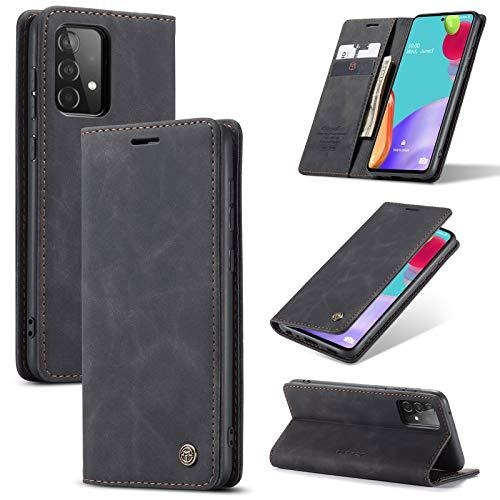 Handyhülle für Samsung Galaxy A52 Hülle Lederhülle Premium Leder PU Flip Wallet Schutzhülle Kartenfach Tasche 360 Grad Front Anti-Shock Displayschutz Case mit Galaxy A52 Cover (Schwarz,5G)