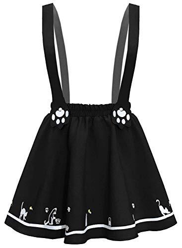 Futurino Minifalda plisada con dos tirantes y zarpas de gato bordadas para mujer Negro Negro ( X-Small/Small