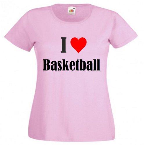 Camiseta con texto 'I Love Basketball para mujer, hombre y niños en los colores negro, blanco y rosa rosa M