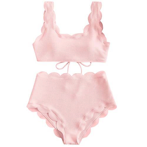ZAFUL Women's Scalloped Textured Swimwear High Waisted Wide Strap Adjustable Back Lace-up Bikini Set Swimsuit Light Pink 2XL