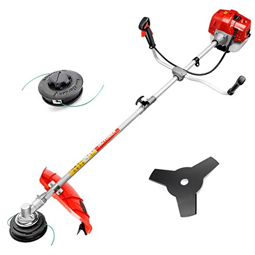 51.7CC Grass String Trimmers Gas Straight Shaft Brush Cutter Gasoline Powered Grass Weed Trimmer Straight Shaft Gas Weeder Eater Cutter(Red)