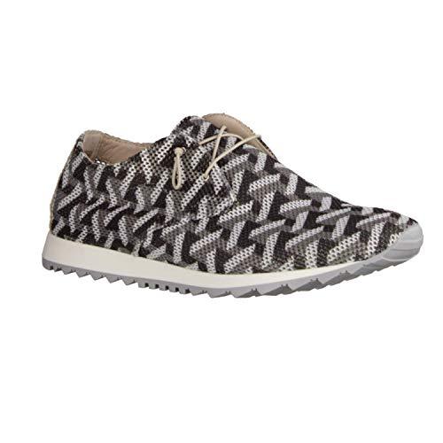 Donna Carolina 37.763.041 Gotik Bianco (grau) - Schnürschuh - Damenschuhe Sneaker, Grau, Leder/Textil
