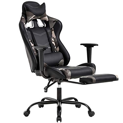 PC Gaming Chair Ergonomic Office Chair Desk Chair with Lumbar Support Headrest Arms Footrest Modern Task Rolling Swivel High Back PU Leather Computer Chair for Women Adults, Camo chair footrest gaming