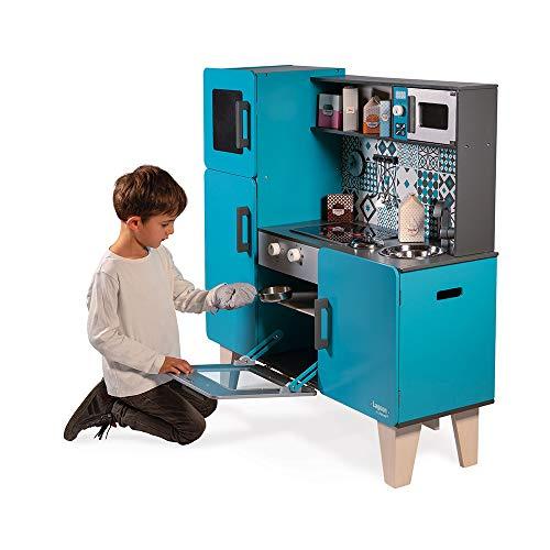 Janod Kinderküche aus Holz Lagoon Maxi mit Kühlschrank und Mikrowelle – Kinder Spielzeug Küche – Inkl. 15 Zubehörteilen – Ab 3 Jahren, J06555 - 4