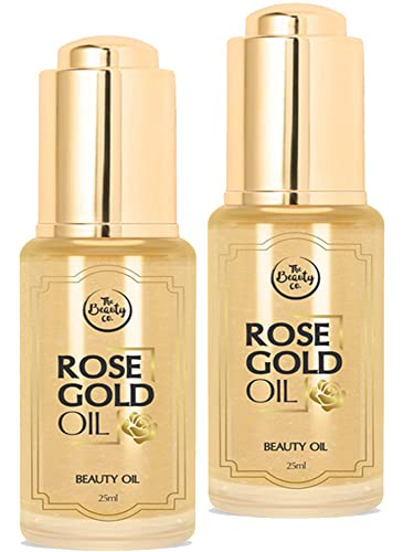 The Beauty Co. Rose Gold Face Oil, 25 ml (Pack of 2)| Moisturizer | Mix with your Makeup | Primer | Highlighter | Made in India