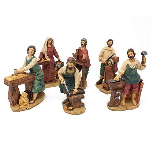 Joy Christmas Pastori Mestieri in Resina 15 cm per Presepe Set 6 Pezzi Assortiti - 48210