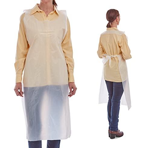 OptiPro Einwegschürzen 200 Stück | Einmalschürze | hygienischer Schutz | Schutzbekleidung | Unisex, Universalgröße | ärmellos, mit Bindebändchen an der Taille | 686 x 1170 mm | weiß