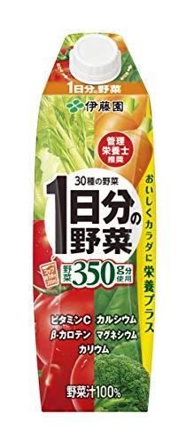 伊藤園 1日分の野菜 キャップ付 屋根型紙パック 1L×6本 [7387]