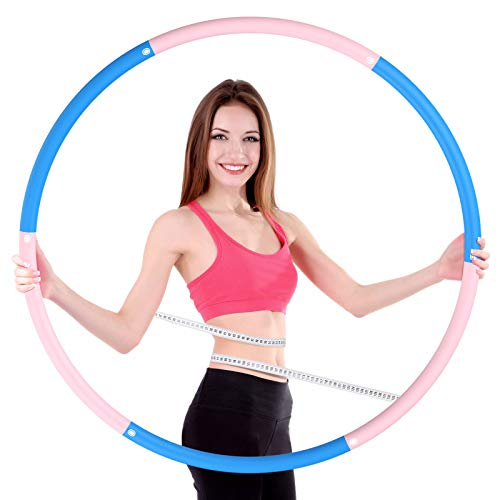 OUZIGRT Fitness Hula Reifen, Hoop Erwachsene mit Einstellbarem Gewicht, 6 Abnehmbare Teile Gespleißt, Hula Reifen für Fitness/Trainin/Aerobic - Pink und Blau