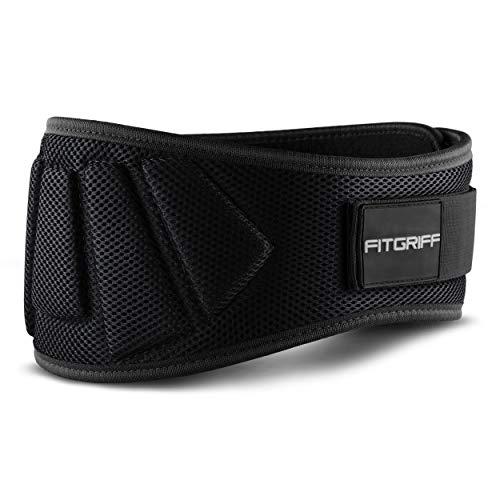 Fitgriff® Gewichthebergürtel V1 - Fitness-Gürtel für Bodybuilding, Krafttraining, Gewichtheben und Crossfit Training - Trainingsgürtel für Damen und Herren (Schwarz, L)