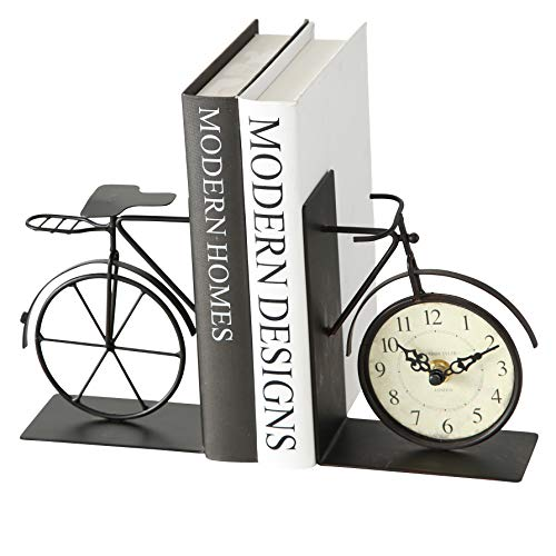 The Industrial Chic Bicycle Bookends with Analog Clock, Set of 2, Handcrafted of Bent and Welded Black Iron, Combined 8 5/8Ó Long, 1 AA Battery (Not Included,) By Whole House Worlds