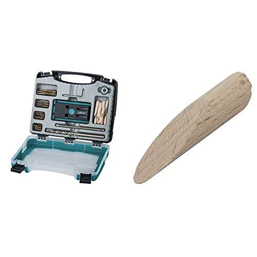 wolfcraft Undercover Jig-Set 4642000 | Zuverlässige Bohrhilfe mit Schrauben für Holzverbindungen & das Bohren von Taschenlöchern + 12 Spezial-Holzdübel für Undercover Jig