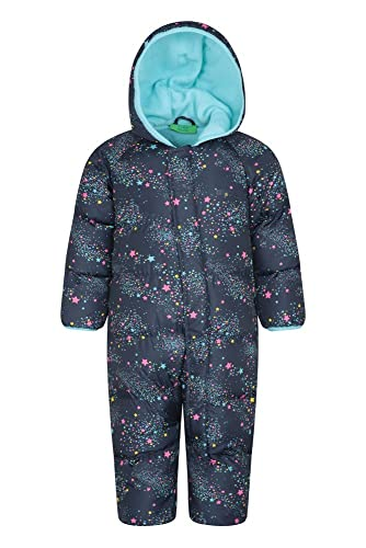 Mountain Warehouse Frosty Junior Padded Suit - Central Zip, Hand, Foot Cuffs, Hoodie, Fleece Lining Childrens Snowsuit - Ideal for Winter Holidays Navy 18-24 Months