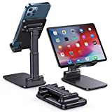 LISEN Tablet Stand, Fully Foldable iPad Stand iPhone Stand, Adjustable iPad Holder for Desk Metal Rod Tablet Holder Stand Compatible with iPhone,Switch,iPad,Tablet