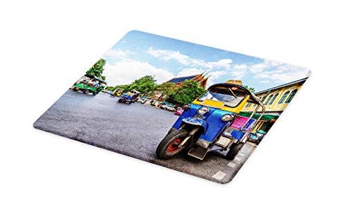 Lunarable Thai Cutting Board, Bangkok City Tourism Colorful Tuk Tuk Transportation Busy Roads Clear Sky Cityscape, Decorative Tempered Glass Cutting and Serving Board, Small Size, Multicolor