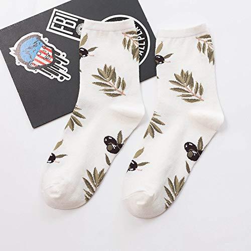 LIOOBO Novelty bedrukte sokken, Harajuku schattig gekamd katoen warme vrouwen bemanning sokken nieuwigheid grappige luiaard koffie bonen cartoon patroon hak cadeau voor man jongen meisje 3 stks