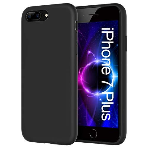 Whew Hülle Kompatibel mit iPhone 7 Plus / 8 Plus, [Fallschutzundrutschfest] Kratzfest Silikon Stoßfest Hülle, Ultra Dünn Weiche TPU Schwarz Schutzhülle, Handyhülle für iPhone 7 Plus / 8 Plus- Black
