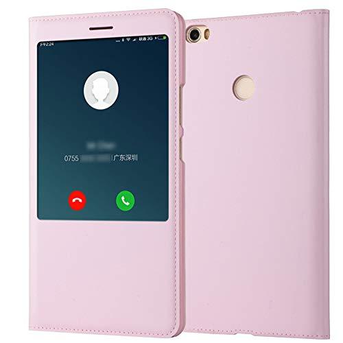 """Funda para Xiaomi Mi MAX Carcasa Cuero PU Tapa Flip + Interior TPU Silicona Ultra Slim Case Protección Inteligente Tel para Mi MAX 2 MAX 3 Caja (Rosa, Mi MAX 2 6.44"""")"""