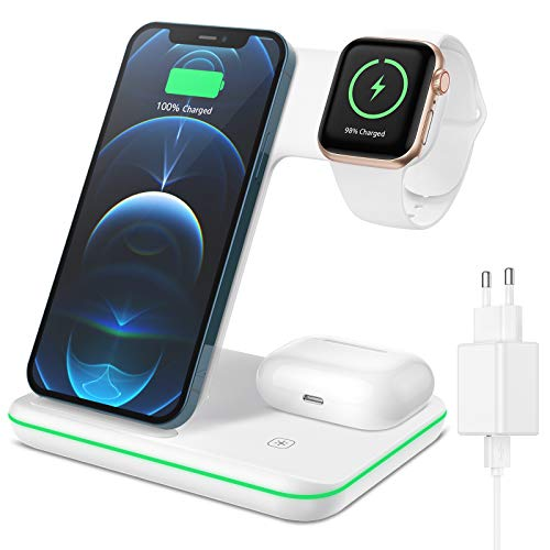XIMU Cargador inalámbrico 3 en 1, estación de carga rápida con adaptador compatible con iPhone 12/11 Pro Max/XS/XR/X/8/8 Plus/Apple Watch 6/SE/5/AirPods Pro/Samsung Galaxy S21/S21+/S10/S9