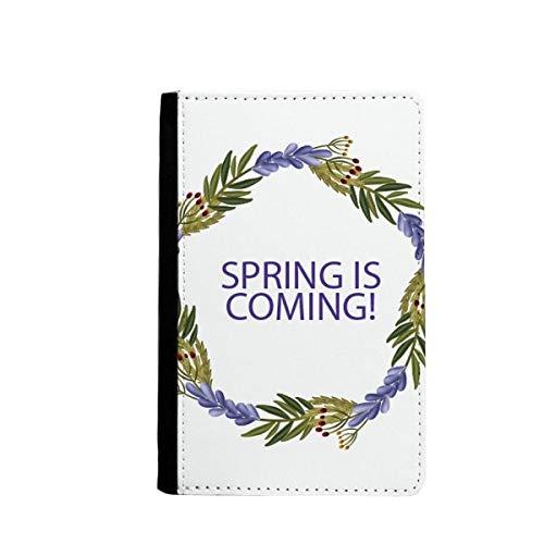 Ronde slinger blauwe bloem plant paspoort houder reizen portemonnee hoesje kaart portemonnee