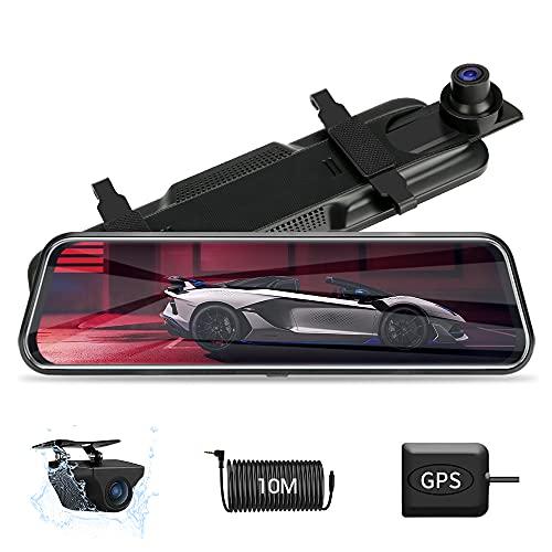 AggiornatoDash Cam Doppia con GPS Anteriore e Posteriore Dual 1080P Dash Cam Per Auto Full Touch Screen Dash Cam Specchietto Visione Notturna Dash Cam Per Auto con Telecamera Per Auto Impermeabile