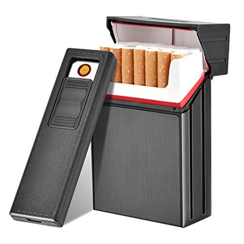 HQPCAHL Estuche para Cigarrillos con Encendedores Porta Cigarrillos De Aluminio Bolsillo De Metal Porta Cigarrillos Porta Cigarrillos 2 En 1 Encendedores Electrónicos Recargables USB Sin Llama,Negro