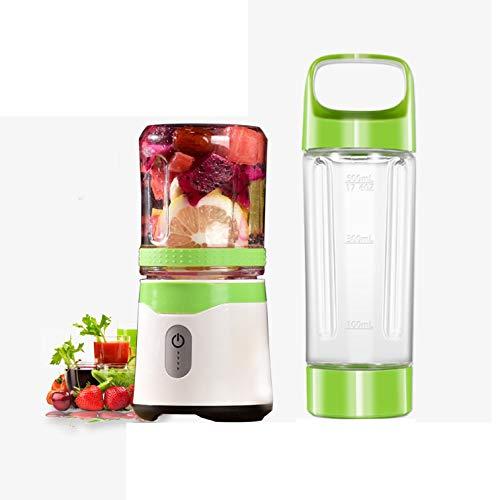PsgWXL Máquina Mezcladora de Frutas de Mano para Fruta, Verdura, Smoothies, Milkshake Batidora de Zumo USB Sin BPA Cup Juicer Copa Doble,Green
