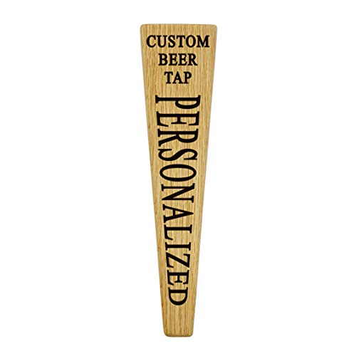 Custom Personalized Beer Tap Handle Oak Wood. Engraved your Personalized Text. Great for Tap Rooms, Bars, Breweries and Home Kegerators.