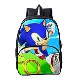 HGYYIO 3D Anime Sonic Impreso Mochila de la Escuela Primaria/Mochila para Nios nias 6-12 aos de Edad Impermeable Nylon Cartera Nios Viajar Mochila,M