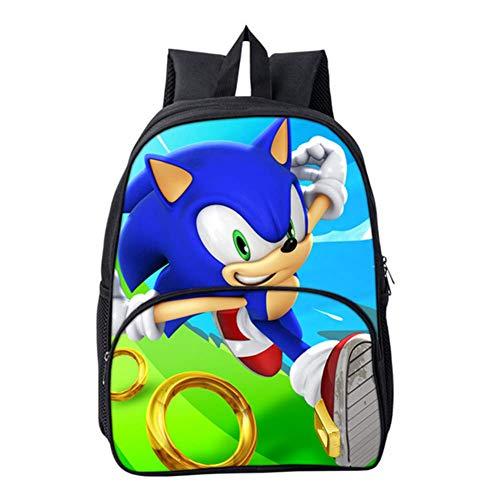 HGYYIO 3D Anime Sonic Impreso Mochila de la Escuela Primaria/Mochila para Niños niñas 6-12 años de Edad Impermeable Nylon Cartera Niños Viajar Mochila,M
