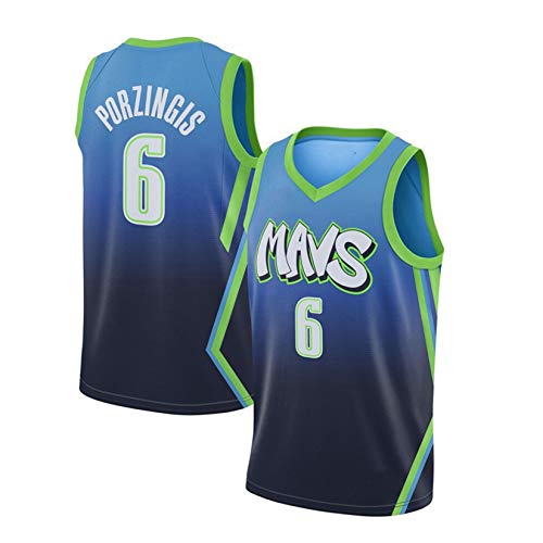 WGFI Herren-Basketballtrikot, Kristaps Porzingis Dallas Mavericks # 6-Trikot, City Edition-Trikot, Besticktes Mesh-Basketball-Swingman-Trikot, 100% Polyester Green-XL