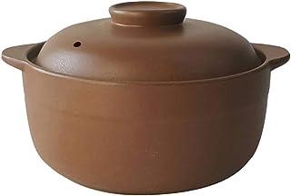 Xnxn Cazuela de cerámica sin esmaltar con Tapa, Olla de Barro Hecha a Mano, Barro, Sopa de Cebolla, ollas, Olla para cocción Lenta A 1.6L