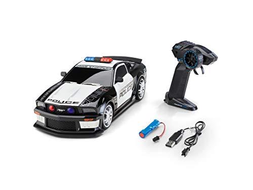 Revell Control 24665 RC Scale US Police Ford Mustang, GHz-Fernsteuerung, wechselbarer Li-Ion-Akku, LED-Beleuchtung, Blaulicht, Sirene, 33 cm ferngesteuertes Auto, schwarz