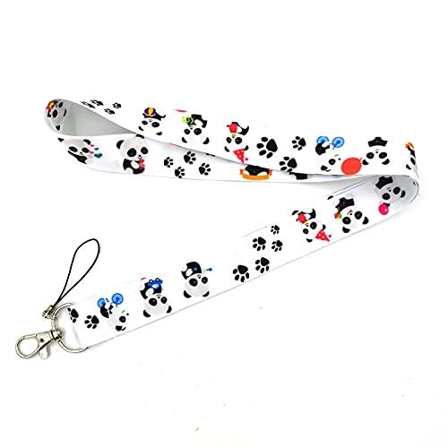 Lindos cordones de dibujos animados de oso panda para llaves, llavero, tarjeta de identificación, teléfono móvil, soporte para placa USB, cuerda para colgar, correa para el cuello, cordón, cartera