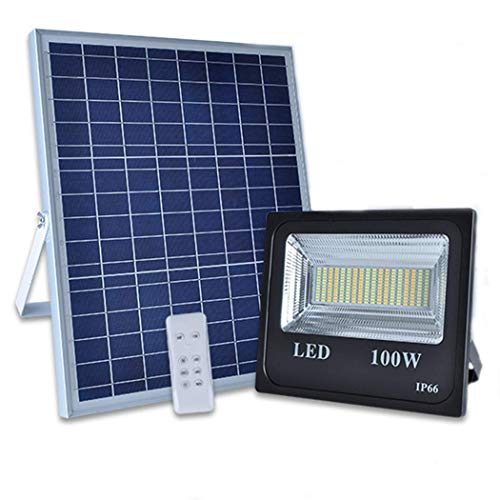 Fighrh IP66 Impermeable Solar Spot Lights LED Flood Lights Outdoor Street Anochecer a amanecer Lights 100W 12000LM Control remoto Solars Powered Floodlight 3 temperaturas de color for Lawn Garden Farm