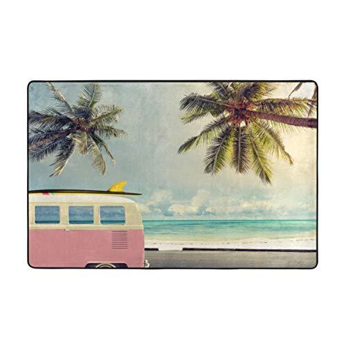 Lichenran Alfombrilla baño, Alfombra de Cocina Puerta Pies Estera Felpudo,Surf, Minivan en la Playa Retro Inspirado en Las Nubes de Vacaciones en el Cielo de Verano Luna de Miel Destino 75X45cm
