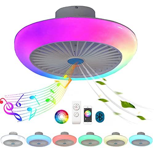 Plafon LED Techo Colores RGB Bluetooth Altavoz Musica Redondo Regulable Lampara Ventilador Techo con Luz y Mando a Distancia Silencioso Ventilador de Techo con Iluminación Infantil Dormitorio Sala