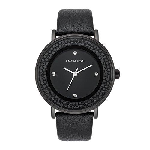 Stahlbergh Damen Uhr analog Japanisches Quarzwerk mit Leder Armband schwarz 3 ATM verziert mit Kristallen von Swarovski® 10060097