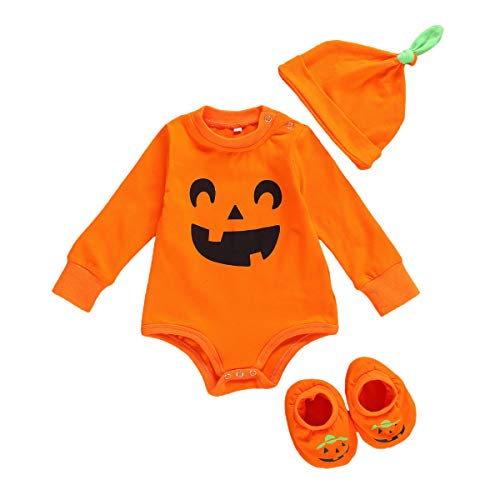 MINASAN Newborn Baby Girl Halloween Costume Long Sleeve Pumpkin Face Romper...