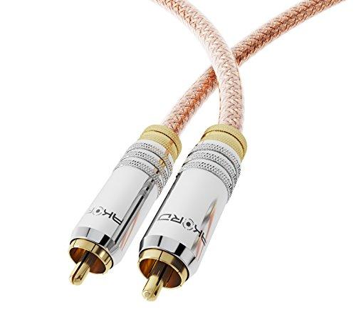 Akord Premium 0.5 m Audio Digital coaxial SPDIF Fono Cable con Conector RCA Oro para Sonido Surround/Dolby/DTS