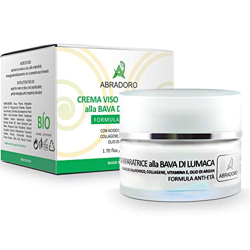Crema Viso Bio Donna Bava di Lumaca con Acido Ialuronico Collagene Olio di Argan e Vitamina E Antirughe IdraIante Antimacchie Giorno e Notte Biologica Made in Italy - Collo Decolletè Vegan 50ml