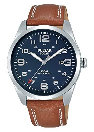 Pulsar Herren Analog Solar Uhr mit Leder Armband PX3189X1