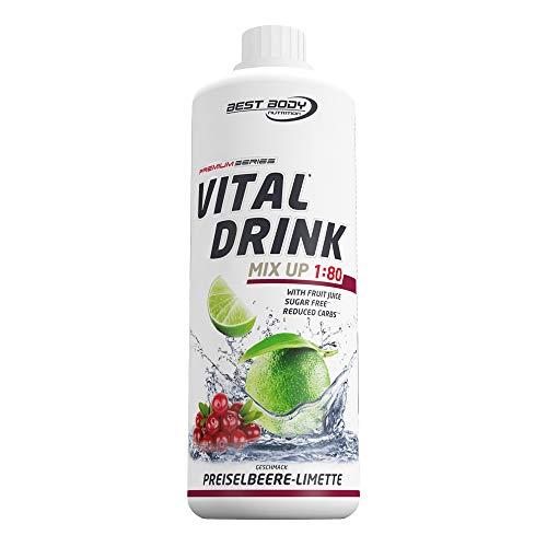 Best Body Nutrition Vital Drink Preislebeer-Limette, zuckerfreies Getränkekonzentrat, 1:80 ergibt 80 Liter Fertiggetränk, 1000 ml