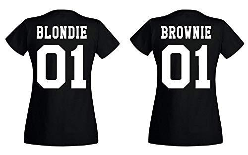 Youth Designs Damen T-Shirt Blondie Brownie für Beste Freunde BFF Mädchen Sister, Modell Brownie, Schwarz, M