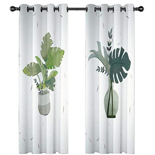 3D verduisteringsgordijnen voor slaapkamer witte vaas groene plant Oogje Thermische geïsoleerde kamer verduisterende gordijnen voor woonkamer, 2 venster gordijnpanelen