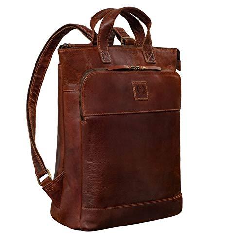 STILORD 'Dwight' Zaino in pelle grande Uomo Donna Messenger Zaino per 16 pollici MacBook Zaino Laptop Zaino moderno Leather, Colore:torres - marrone