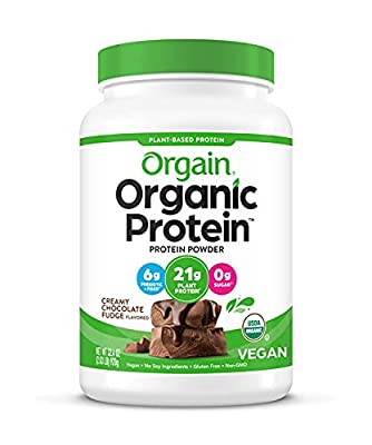 Orgain Organic Plant Based Protein Powder, Creamy Chocolate Fudge - Vegan, Low Net Carbs, Non Dairy, Gluten Free, No Sugar Added, Soy Free, Kosher, Non-GMO, 2.03 Lb (Packaging May Vary) by Orgain