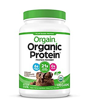 Orgain Organic Plant Based Protein Powder Creamy Chocolate Fudge - Vegan Low Net Carbs Non Dairy Gluten Free No Sugar Added Soy Free Kosher Non-GMO 2.03 Lb  Packaging May Vary