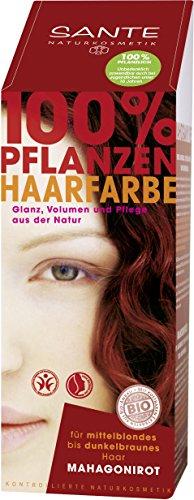 SANTE Naturkosmetik Pflanzen-Haarfarbe Pulver Mahagonirot, Hennapulver, 100 g